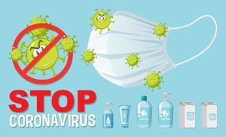 Stop coronavirus text sign with coronavirus theme vector