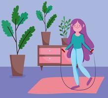 mujer joven, saltar la cuerda, en casa vector