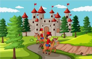 Fairytale scene with castle and soldier royal guard scene vector