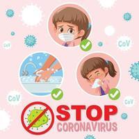 detener el coronavirus con chica vector
