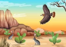 Desert with rocky mountains and bird