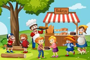 Front of bakery shop with baker vector