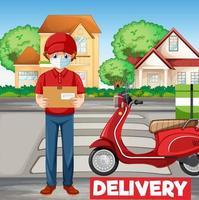 hombre en bicicleta o mensajero con logo de entrega