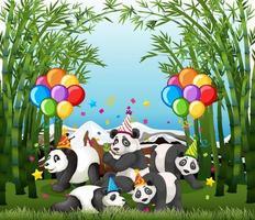 Grupo de panda en personaje de dibujos animados de tema de fiesta