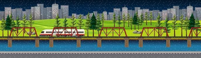 parque natural de la ciudad con tren en el paisaje del horizonte en la escena nocturna vector