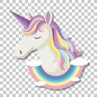 Unicorn head with rainbow mane