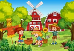 Kids planting at rural outdoor area vector