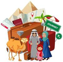 familia árabe en collage de vacaciones vector