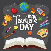 Happy Teacher's Day sign vector