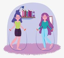 niñas saltando la cuerda en casa vector