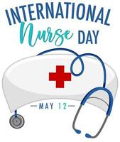 banner del día internacional de la enfermera con gorra de enfermera