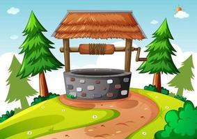 Stone well in nature scene cartoon style vector
