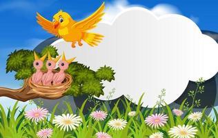 plantilla de banner de pájaro en la naturaleza