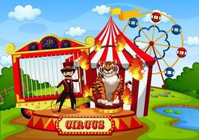 Amusement park with circus in cartoon style vector