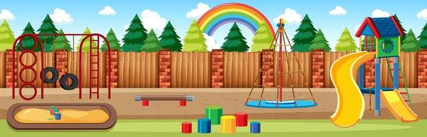 Kids playground in the park with rainbow vector