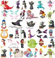 Set of different fairytale cartoon characters