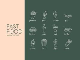 Stroke fast food icon set vector