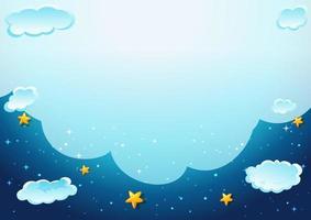 Blank cloud in the night sky template