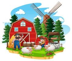 fazenda com celeiro vermelho e moinho de vento em fundo branco