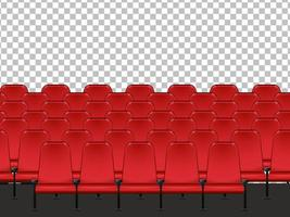 Red seats in cinema with transparent background