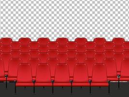 Asientos rojos en el cine con fondo transparente.