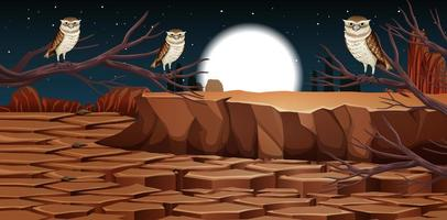 Desert with rock mountains and desert animals vector