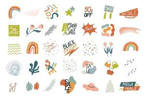 Big set of trendy abstract sale icons vector