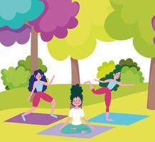 Young women doing activities outdoors