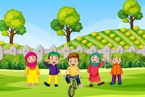Muslim children outside in field vector
