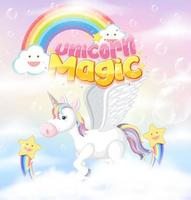 Unicorn magic pastel background vector