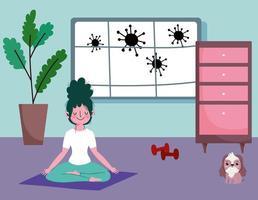 mujer joven, hacer, yoga, en casa vector