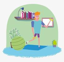 Young man working out at home vector