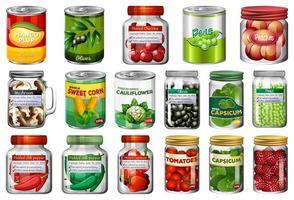 Conjunto de diferentes alimentos enlatados y alimentos en frascos. vector