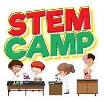 Banner de Stem Camp con niños vector