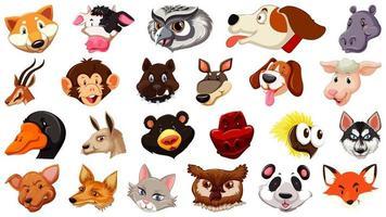 conjunto de diferentes cabezas de animales de dibujos animados lindo