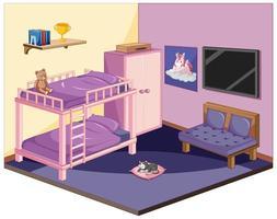 dormitorio en color rosa tema isométrico