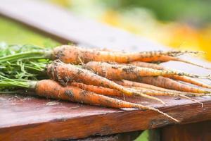 primer plano, de, un, manojo de zanahorias