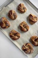 Breakfast pastries on a baking sheet