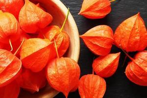 Many orange physalis