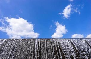 Water flow at weir and blue sky