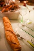 Baguette bread on the table