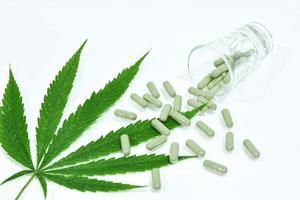Cannabis leaf and pills photo
