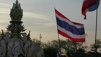 Anti-government protest and Thai flag video