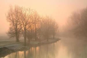 Foggy river Thames near Oxford. photo