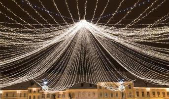 Christmas lights in old town square photo