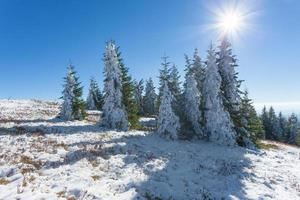 First snow in mountain against the sunlight
