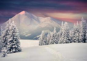 hermoso amanecer de invierno en las montañas. foto