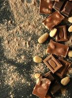 pieces of chocolate with almonds
