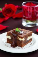 Chocolate brownie with cheese photo