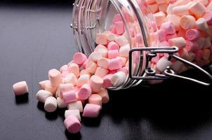 Pink and white mini marshmallows photo
